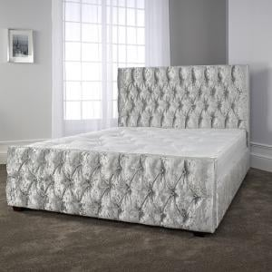 Caroline Ultra Modern Bed In Glitz Ice With Dark Wooden Legs