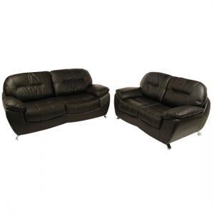 Ella 3+2 Seater Black Leather Sofa Set