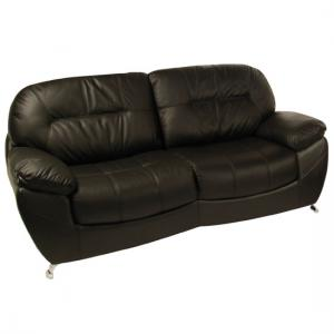 Ella 3 Seater Black Leather Sofa