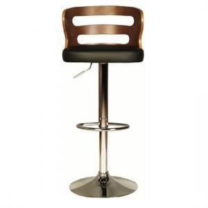Dupont Bar Stool In Black PU And Walnut With Chrome Plated Base