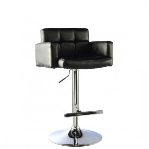 Elmfield Black Faux Leather Bar Stool With Chrome Base