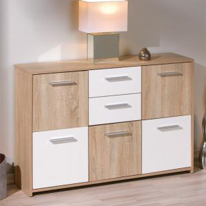 Elvezia Modern Wooden Sideboard In Oak and White With 5 Doors