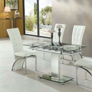Enke Extending Dining Table In Clear Glass And Chrome Frame