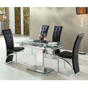 Enke Extending Dining Table In Glass With 4 Ravenna Black Chairs