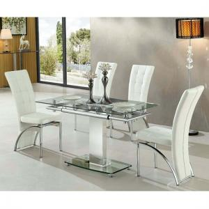Enke Extending Glass Dining Table With 4 Ravenna White Chairs