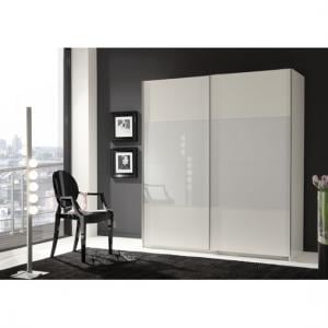 Enter White 2 Door Sliding Wardrobe With Glass In Middle section