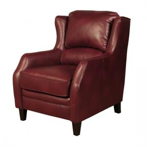 Halton ArmChair In Burgundy Leather Look Fabric With Wooden Legs
