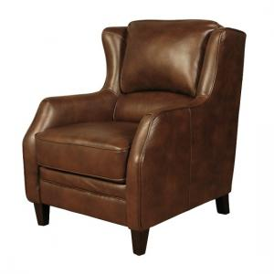 Halton Sofa Chair In Tan Leather Look Fabric With Wooden Legs