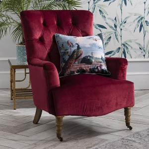 Evenly Sofa Chair In Berry Velvet With Natural Wooden Legs_1