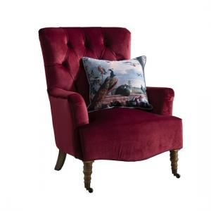 Evenly Sofa Chair In Berry Velvet With Natural Wooden Legs_2