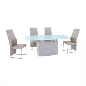 Crystal High Gloss Finish White Glass Top Dining Table Only