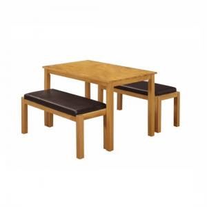 Femton Dining Table In Solid Rubber Wood With 2 Dining Benches