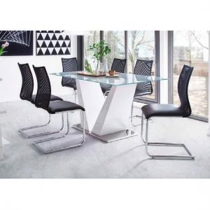 Francesca White Glass Dining Table With 6 Kim Black Chairs