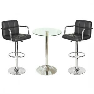 Gino Bistro Table In Clear Glass With 2 Black Glenn Bar Stools