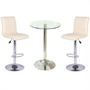 Gino Bar Table In Clear Glass And 2 Ripple Bar Stools In Cream
