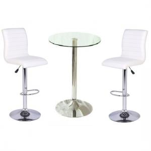 Gino Bar Table In Clear Glass And 2 Ripple Bar Stools In White