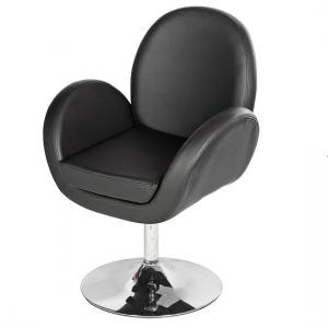 Ego Lounge Chair In Black Faux Leather With Chrome Base