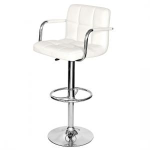 Glenn Bar Stool In White Faux Leather With Chrome Base
