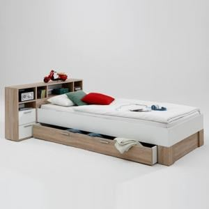 Fabrizio Wooden Bed In Canadian Oak And White With Storage