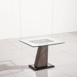 Fabrize Lamp Table In Glass Top With Walnut And Black Gloss Base