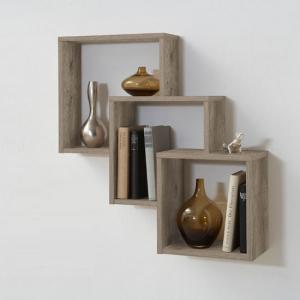Fibi Trio Wooden Wall Shelf In Oak