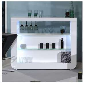 Fiesta Bar Table In White High Gloss And Gl Shelves