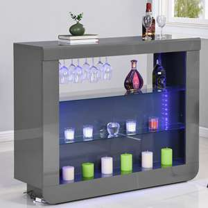 Fiesta Bar Table Unit In High Gloss Grey With LED Lights