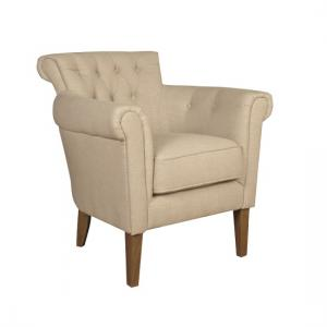 Finley Armchair In Beige Fabric With Wooden Legs