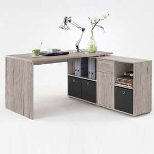 Flexi Wooden Corner Computer Desk In Sand Oak