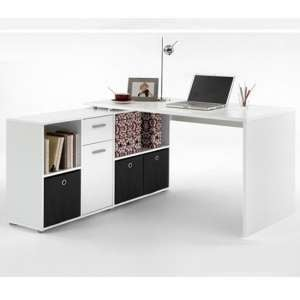 Flexi Wooden Corner Computer Desk In White