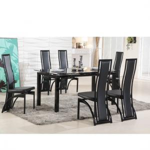 Florence Extending Black Glass Dining Table with 6 Dining Chairs