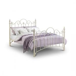 Floren Metal King Size Bed In Stone White Finish