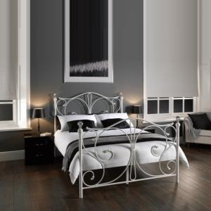 Flora Metal Single Bed in White