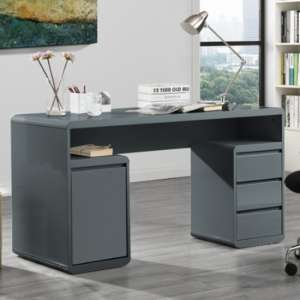 Florentine Computer Desk In Grey High Gloss With Storage