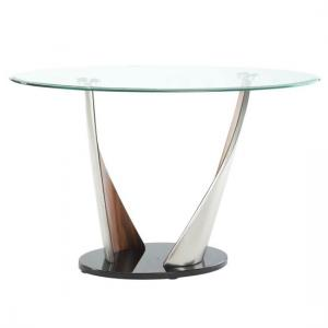 Florence Glass Console Table With Walnut And Satin Base