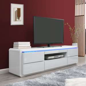 Frame LCD TV Stand In White High Gloss With LED Light