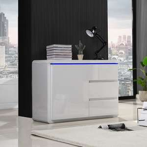 Frame Small Wooden Sideboard In White High Gloss With 1 Door