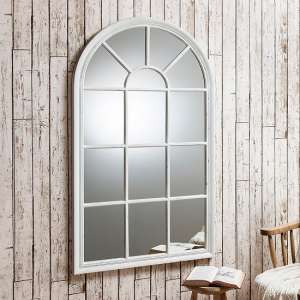 Fulham Wall Mirror In White With Window Pane Design