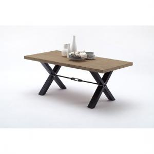 Gavi Acacia Grey Wooden Dining Table With Metal Legs