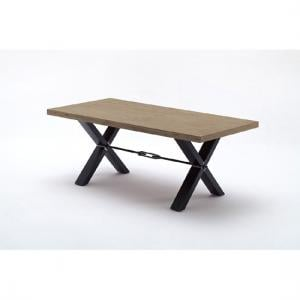Gavi Acacia Grey Wooden Large Dining Table With Metal Legs
