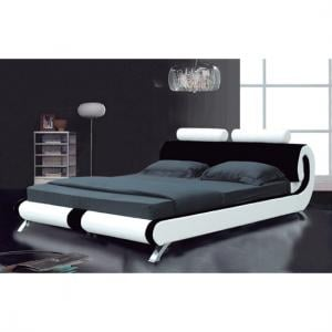 Modern Designer Italian King Bed In Black And Red Faux Leather