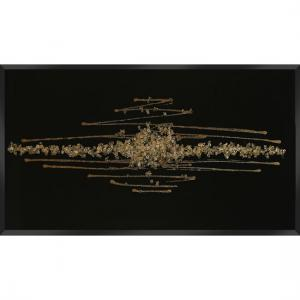 Amaze Glass Wall Art In Black With Champagne Glitter Crystals