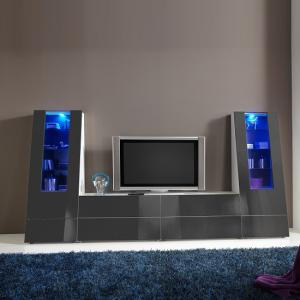 Gala Entertainment Unit Set 4 In White And Grey Gloss With LEDs