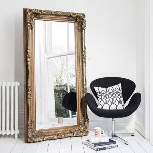 Luxembourg Baroque Style Floor Mirror Rectangular In Gold