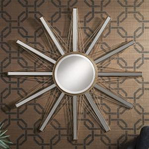 Roland Starburst Wall Mirror In Bright Gold With Mirrored Panels