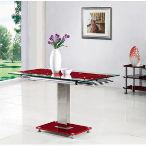 Enke Extending Dining Table In Red Glass And Chrome