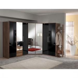 Gastineau Wardrobe In Walnut And Black Gloss With Mirror Doors