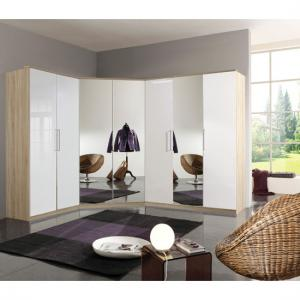 Gastineau Corner Wardrobe In Oak With Pearl White Gloss Front