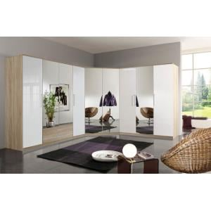 Gastineau Corner Wardrobe In Oak And White Gloss With Mirrors