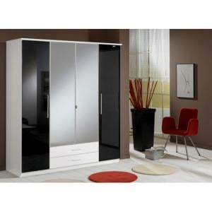 Gastineau 4 Door Wardrobe In Alpine White With Drawer And Mirror